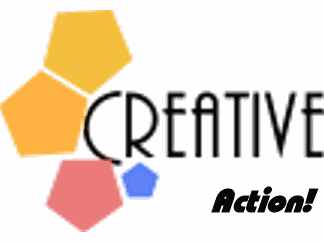 Three pentagones and the word creative for creative marketing